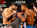 MEXICO CITY, MEXICO - NOVEMBER 14: (L-R) Opponents Ricardo Lamas of the United States and Dennis Bermudez of the United States face off during the UFC 180 weigh-in inside the Arena Ciudad de Mexcio on November 14, 2014 in Mexico City, Mexico. (Photo by Josh Hedges/Zuffa LLC/Zuffa LLC via Getty Images)