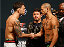 AUSTIN, TX - NOVEMBER 21:  (L-R) Opponents Frankie Edgar and Cub Swanson shake hands during the UFC weigh-in at The Frank Erwin Center on November 21, 2014 in Austin, Texas.  (Photo by Josh Hedges/Zuffa LLC/Zuffa LLC via Getty Images)