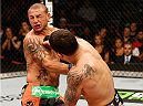 AUSTIN, TX - NOVEMBER 22:  (R-L) Frankie Edgar punches Cub Swanson in their featherweight bout during the UFC Fight Night event at The Frank Erwin Center on November 22, 2014 in Austin, Texas.  (Photo by Josh Hedges/Zuffa LLC/Zuffa LLC via Getty Images)