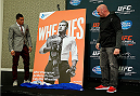 LAS VEGAS - DECEMBER 04:  (R-L) UFC president Dana White and lightweight champion Anthony Pettis reveal the new Wheaties box artwork featuring Pettis during the UFC 181 Ultimate Media Day at the MGM Grand Hotel/Casino on December 4, 2014 in Las Vegas, Nevada. (Photo by Josh Hedges/Zuffa LLC/Zuffa LLC via Getty Images)
