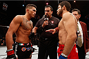 LAS VEGAS, NV - DECEMBER 06:  (L-R) Anthony Pettis and Gilbert Melendez face off in their UFC lightweight championship bout during the UFC 181 event inside the Mandalay Bay Events Center on December 6, 2014 in Las Vegas, Nevada.  (Photo by Josh Hedges/Zuffa LLC/Zuffa LLC via Getty Images)