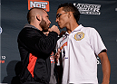 LAS VEGAS, NEVADA - DECEMBER 10:  (L-R) Jeremy Stephens and Charles Oliveira face-off during The Ultimate Fighter Finale Ultimate Media Day at the Palms Casino Resort on December 10, 2014 in Las Vegas, Nevada. (Photo by Brandon Magnus/Zuffa LLC/Zuffa LLC via Getty Images)