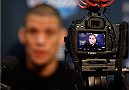 PHOENIX, AZ - DECEMBER 11:  Nate Diaz interacts with media during the UFC Ultimate Media Day at the US Airways Center on December 11, 2014 in Phoenix, Arizona. (Photo by Josh Hedges/Zuffa LLC/Zuffa LLC via Getty Images)
