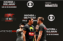 SAO PAULO, BRAZIL - DECEMBER 18:  (L-R) Opponents Lyoto Machida of Brazil and CB Dollaway of the United States face off during an open training session for fans and media at Allianz Parque on December 18, 2014 in Sao Paulo, Brazil. (Photo by Josh Hedges/Zuffa LLC/Zuffa LLC via Getty Images)