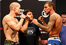 BARUERI, BRAZIL - DECEMBER 19:  (L-R) Opponents Tom Niinimaki of Finland and Renato Moicano of Brazil face off during the UFC weigh-in event inside the Ginasio Jose Correa on December 19, 2014 in Barueri, Brazil. (Photo by Josh Hedges/Zuffa LLC/Zuffa LLC via Getty Images)
