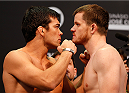 BARUERI, BRAZIL - DECEMBER 19:  (L-R) Opponents Lyoto Machida of Brazil and CB Dollaway of the United States face off during the UFC weigh-in event inside the Ginasio Jose Correa on December 19, 2014 in Barueri, Brazil. (Photo by Josh Hedges/Zuffa LLC/Zuffa LLC via Getty Images)