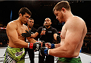 BARUERI, BRAZIL - DECEMBER 20:  (L-R) Opponents Lyoto Machida of Brazil and CB Dollaway of the United States touch gloves before their middleweight fight during the UFC Fight Night event inside the Ginasio Jose Correa on December 20, 2014 in Barueri, Brazil. (Photo by Josh Hedges/Zuffa LLC/Zuffa LLC via Getty Images)