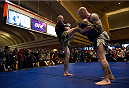 LAS VEGAS, NEVADA - DECEMBER 31:  Donald Cerrone spars with his trainer during the UFC 182 Open Workouts at the MGM Grand Hotel and Casino on December 31, 2014 in Las Vegas, Nevada. (Photo by Brandon Magnus/Zuffa LLC/Zuffa LLC via Getty Images)