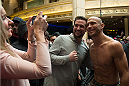 LAS VEGAS, NEVADA - DECEMBER 31:  Donald Cerrone takes photos with fans during the UFC 182 Open Workouts at the MGM Grand Hotel and Casino on December 31, 2014 in Las Vegas, Nevada. (Photo by Brandon Magnus/Zuffa LLC/Zuffa LLC via Getty Images)
