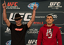 LAS VEGAS, NEVADA - JANUARY 01:  (L-R) Donald Cerrone and Myles Jury face off during the UFC 182 Media Day at the MGM Grand Hotel and Casino on January 1, 2015 in Las Vegas, Nevada. (Photo by Brandon Magnus/Zuffa LLC/Zuffa LLC via Getty Images)