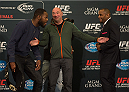 LAS VEGAS, NEVADA - JANUARY 01:  (L-R) UFC light heavyweight champion Jon Jones and Daniel Cormier face off during the UFC 182 Media Day at the MGM Grand Hotel and Casino on January 1, 2015 in Las Vegas, Nevada. (Photo by Brandon Magnus/Zuffa LLC/Zuffa LLC via Getty Images)