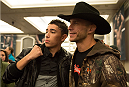 LAS VEGAS, NEVADA - JANUARY 01:  Donald Cerrone takes a picture with a fan during the UFC 182 Media Day at the MGM Grand Hotel and Casino on January 1, 2015 in Las Vegas, Nevada. (Photo by Brandon Magnus/Zuffa LLC/Zuffa LLC via Getty Images)