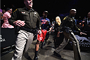 LAS VEGAS, NV - JANUARY 03:  Daniel Cormier enters the arena for his UFC light heavyweight championship bout against Jon Jones during the UFC 182 event at the MGM Grand Garden Arena on January 3, 2015 in Las Vegas, Nevada.  (Photo by Jeff Bottari/Zuffa LLC/Zuffa LLC via Getty Images)
