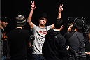 BOSTON, MA - JANUARY 17:  Donald 'Cowboy' Cerrone walks onstage during the UFC Fight Night Boston weigh-in event at the Orpheum Theatre on January 17, 2015 in Boston, Massachusetts. (Photo by Jeff Bottari/Zuffa LLC/Zuffa LLC via Getty Images)