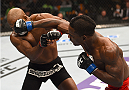 BOSTON, MA - JANUARY 18:  (R-L) Lorenz Larkin punches John Howard in their welterweight fight during the UFC Fight Night event at the TD Garden on January 18, 2015 in Boston, Massachusetts. (Photo by Jeff Bottari/Zuffa LLC/Zuffa LLC via Getty Images)