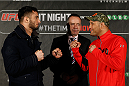 STOCKHOLM, SWEDEN - JANUARY 21:  (L-R) Opponents Gegard Mousasi of the Netherlands and Dan Henderson of the United States face off during the UFC Ultimate Media Day at the Tele2 Arena on January 21, 2015 in Stockholm, Sweden. (Photo by Josh Hedges/Zuffa LLC/Zuffa LLC via Getty Images)
