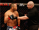 STOCKHOLM, SWEDEN - JANUARY 24:  (L-R) Dan Henderson of the United States protests to referee Leon Roberts after his TKO loss to Gegard Mousasi of the Netherlands in their middleweight bout during the UFC Fight Night event at the Tele2 Arena on January 24, 2015 in Stockholm, Sweden. (Photo by Josh Hedges/Zuffa LLC/Zuffa LLC via Getty Images)