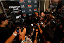 LAS VEGAS, NEVADA - JANUARY 29:  Former UFC middleweight champion Anderson Silva of Brazil interacts with media during the UFC 183 Ultimate Media Day at the MGM Grand Hotel/Casino on January 29, 2015 in Las Vegas, Nevada. (Photo by Josh Hedges/Zuffa LLC/Zuffa LLC via Getty Images)