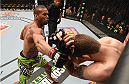 LAS VEGAS, NV - JANUARY 31:  (L-R) Thiago Santos punches Andy Enz in their middleweight bout during the UFC 183 event at the MGM Grand Garden Arena on January 31, 2015 in Las Vegas, Nevada.  (Photo by Josh Hedges/Zuffa LLC/Zuffa LLC via Getty Images)