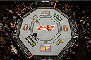 LAS VEGAS, NV - JANUARY 31:  Overhead view of the Octagon (Top) Nick Diaz taunts Anderson Silva in their middleweight bout during the UFC 183 event at the MGM Grand Garden Arena on January 31, 2015 in Las Vegas, Nevada.  (Photo by Zuffa LLC/Zuffa LLC via Getty Images) *** Local Caption *** Anderson Silva; Nick Diaz