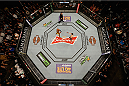 LAS VEGAS, NV - JANUARY 31:  Overhead view of the Octagon (R) Nick Diaz and Anderson Silva square off in their welterweight bout during the UFC 183 event at the MGM Grand Garden Arena on January 31, 2015 in Las Vegas, Nevada.  (Photo by Zuffa LLC/Zuffa LLC via Getty Images) *** Local Caption *** Anderson Silva; Nick Diaz
