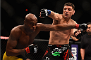 LAS VEGAS, NV - JANUARY 31:  (R-L)  Nick Diaz punches Anderson Silva in their middleweight bout during the UFC 183 event at the MGM Grand Garden Arena on January 31, 2015 in Las Vegas, Nevada.  (Photo by Jeff Bottari/Zuffa LLC/Zuffa LLC via Getty Images) *** Local Caption *** Anderson Silva; Nick Diaz