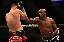 LAS VEGAS, NV - JANUARY 31:  (R-L)  Anderson Silva punches Nick Diaz in their middleweight bout during the UFC 183 event at the MGM Grand Garden Arena on January 31, 2015 in Las Vegas, Nevada.  (Photo by Jeff Bottari/Zuffa LLC/Zuffa LLC via Getty Images) *** Local Caption *** Anderson Silva; Nick Diaz