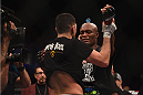 LAS VEGAS, NV - JANUARY 31:  (L-R) Nick Diaz celebrates with Anderson Silva after their middleweight bout during the UFC 183 event at the MGM Grand Garden Arena on January 31, 2015 in Las Vegas, Nevada.  (Photo by Jeff Bottari/Zuffa LLC/Zuffa LLC via Getty Images) *** Local Caption *** Anderson Silva; Nick Diaz