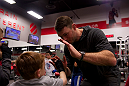 LAS VEGAS, NEVADA - JANUARY 28: Former UFC champion Forrest Griffin teaches some moves to kids at UFC Gym in Green Valley. (Photo by Brandon Magnus/Zuffa LLC/Zuffa LLC)