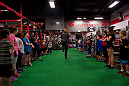 LAS VEGAS, NEVADA - JANUARY 28: Former UFC champion Forrest Griffin shows off some stretching techniques while visiting the UFC Gym in Green Valley. (Photo by Brandon Magnus/Zuffa LLC/Zuffa LLC)