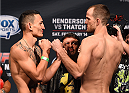 BROOMFIELD, CO - FEBRUARY 13: (L-R) Opponents Max Holloway and Cole Miller face off during the UFC weigh-in at the 1stBank Center on February 13, 2015 in Broomfield, Colorado. (Photo by Josh Hedges/Zuffa LLC/Zuffa LLC via Getty Images)