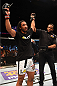 BROOMFIELD, CO - FEBRUARY 14:  Benson Henderson celebrates after defeating Brandon Thatch by submission due to a rear naked choke in their welterweight fight during the UFC Fight Night event inside 1stBank Center on February 14, 2015 in Broomfield, Colorado. (Photo by Josh Hedges/Zuffa LLC/Zuffa LLC via Getty Images)