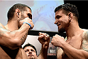 PORTO ALEGRE, BRAZIL - FEBRUARY 21:  Antonio Bigfoot Silva of Brazil and Frank Mir of the USA face off  during the UFC Fight Night Weigh-ins at Gigantinho Arena on February 21, 2015 in Porto Alegre, Brazil.  (Photo by Buda Mendes/Zuffa LLC/Zuffa LLC via Getty Images)