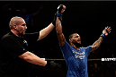 PORTO ALEGRE, BRAZIL - FEBRUARY 22: Michael Johnson of the United States celebrates after defeating Edson Barboza of Brazil in their lightweight bout during the UFC Fight Night at Gigantinho Gymnasium on February 22, 2015 in Porto Alegre, Brazil. (Photo by Buda Mendes/Zuffa LLC/Zuffa LLC via Getty Images)