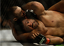 LOS ANGELES, CA - FEBRUARY 28:  (L) Roan Carneiro submits Mark Munoz in their middleweight bout during the UFC 184 event at Staples Center on February 28, 2015 in Los Angeles, California.  (Photo by Jeff Gross/Zuffa LLC/Zuffa LLC via Getty Images)