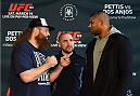 DALLAS, TX - MARCH 12:  (L-R) Opponents Roy Nelson and Alistair Overeem of the Netherlands face off during the UFC 185 Ultimate Media Day at the American Airlines Center on March 12, 2015 in Dallas, Texas. (Photo by Josh Hedges/Zuffa LLC/Zuffa LLC via Getty Images)