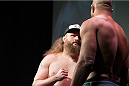 DALLAS, TX - MARCH 13: Roy Nelson faces off with Alistair Overeem during the UFC 185 weigh-ins at the Kay Bailey Hutchison Convention Center on March 13, 2015 in Dallas, Texas. (Photo by Cooper Neill/Zuffa LLC/Zuffa LLC via Getty Images)