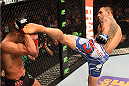DALLAS, TX - MARCH 14:  (R-L) Rafael dos Anjos of Brazil kicks Anthony Pettis in their UFC lightweight championship bout during the UFC 185 event at the American Airlines Center on March 14, 2015 in Dallas, Texas. (Photo by Josh Hedges/Zuffa LLC/Zuffa LLC via Getty Images)