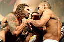 FAIRFAX, VA - APRIL 03:   (L-R) Opponents Clay Guida and Robbie Peralta face off during the UFC weigh-in at the Patriot Center on April 3, 2015 in Fairfax, Virginia. (Photo by Mike Roach/Zuffa LLC/Zuffa LLC via Getty Images)