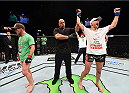 FAIRFAX, VA - APRIL 04:   (R-L) Alexander Yakovlev celebrates after defeating Gray Maynard in their lightweight fight during the UFC Fight Night event at the Patriot Center on April 4, 2015 in Fairfax, Virginia. (Photo by Josh Hedges/Zuffa LLC/Zuffa LLC via Getty Images)