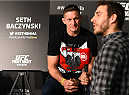 KRAKOW, POLAND - APRIL 08:  Seth Baczynski of the United States interacts with media during the UFC Fight Night Ultimate Media Day inside the TAURON Arena on April 8, 2015 in Krakow, Poland. (Photo by Jeff Bottari/Zuffa LLC/Zuffa LLC via Getty Images)
