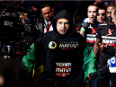 NEWARK, NJ - APRIL 18:  Diego Brandao arrives for his featherweight bout against Jimy Hettes during the UFC Fight Night event at Prudential Center on April 18, 2015 in Newark, New Jersey.  (Photo by Josh Hedges/Zuffa LLC/Zuffa LLC via Getty Images)