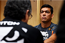 NEWARK, NJ - APRIL 18:  Lyoto Machida of Brazil has his hands wrapped prior to his middleweight bout against Luke Rockhold during the UFC Fight Night event at Prudential Center on April 18, 2015 in Newark, New Jersey.  (Photo by Jeff Bottari/Zuffa LLC/Zuffa LLC via Getty Images)