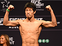 ADELAIDE, AUSTRALIA - MAY 09:   Hatsu Hioki of Japan weighs in during the UFC weigh-in event at the Adelaide Entertainment Centre on May 9, 2015 in Adelaide, Australia. (Photo by Josh HedgesZuffa LLC/Zuffa LLC via Getty Images)