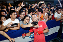 PASAY, PHILIPPINES - MAY 13: Fankie Edgar interacts with fans during an open training session for fans and media at the Music Hall inside the Mall of Asia on May 13, 2015 in Pasay, Philippines. (Photo by Mitch Viquez/Zuffa LLC/Zuffa LLC via Getty Images)