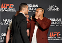 LAS VEGAS, NEVADA - MAY 21: (L-R) Chris Weidman and Vitor Belfort face-off during the UFC 187 Ultimate Media Day at the MGM Grand Hotel/Casino on May 21, 2015 in Las Vegas Nevada. (Photo by Brandon Magnus/Zuffa LLC/Zuffa LLC via Getty Images)