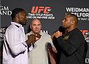LAS VEGAS, NEVADA - MAY 21: (L-R) Anthony Johnson and Daniel Cormier face off during the UFC 187 Ultimate Media Day at the MGM Grand Hotel/Casino on May 21, 2015 in Las Vegas Nevada. (Photo by Brandon Magnus/Zuffa LLC/Zuffa LLC via Getty Images)