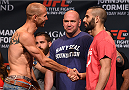 LAS VEGAS, NV - MAY 22:   (L-R) Opponents Donald 'Cowboy' Cerrone and John Makdessi of Canada face off during the UFC 187 weigh-in at the MGM Grand Conference Center on May 2, 2015 in Las Vegas, Nevada. (Photo by Josh Hedges/Zuffa LLC/Zuffa LLC via Getty Images)