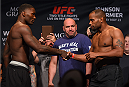 LAS VEGAS, NV - MAY 22:   (L-R) Opponents Anthony 'Rumble' Johnson and Daniel Cormier shake hands during the UFC 187 weigh-in at the MGM Grand Conference Center on May 2, 2015 in Las Vegas, Nevada. (Photo by Josh Hedges/Zuffa LLC/Zuffa LLC via Getty Images)