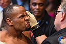LAS VEGAS, NV - MAY 23:  Daniel Cormier prepares to enter the Octagon before facing Anthony 'Rumble' Johnson in their UFC light heavyweight championship bout during the UFC 187 event at the MGM Grand Garden Arena on May 23, 2015 in Las Vegas, Nevada.  (Photo by Josh Hedges/Zuffa LLC/Zuffa LLC via Getty Images)